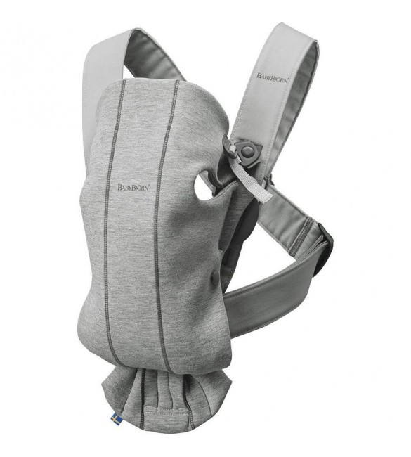 Marsupiu anatomic Mini, cu pozitii multiple de purtare Light Grey, 3D Jersey, BabyBjorn