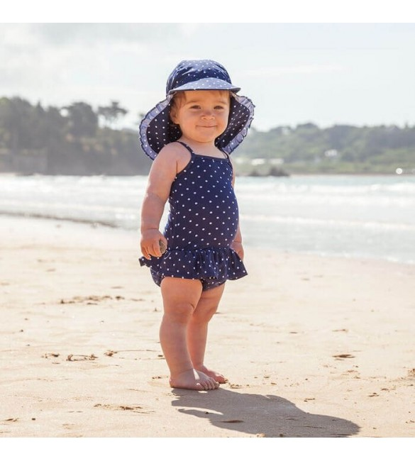 Costum de Baie Bubble Navy White Dots Jojo Maman Bebe