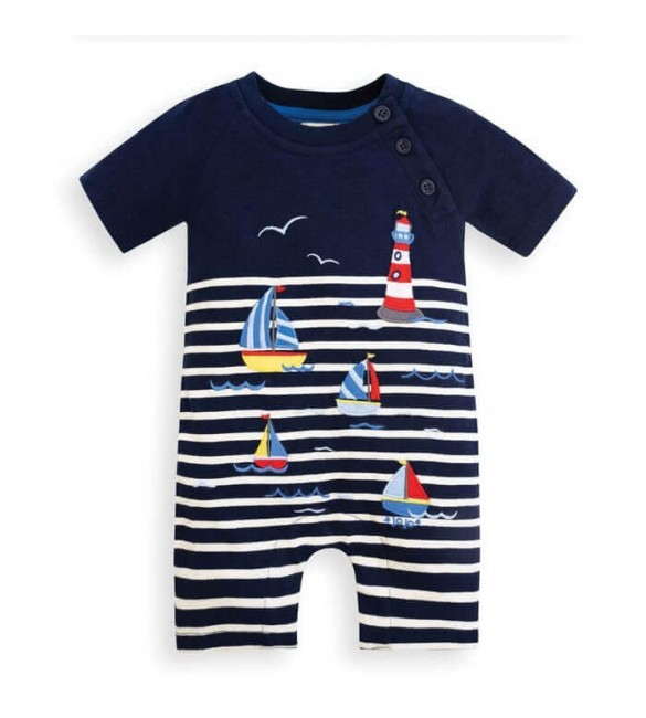 Salopeta Boat & Lighthouse Navy Ecru Stripe Jojo Maman Bebe