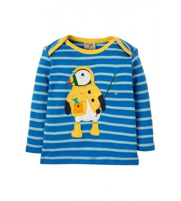 Bluza Bobby Applique Sail Blue Multi Breton Puffin,Frugi