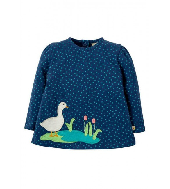 Bluza Connie Applique Marine Blue Scatter Spot Duck, Frugi