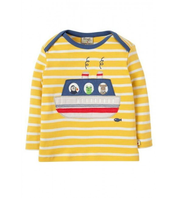 Bobby Applique Top Sun Yellow Breton Boat, Frugi